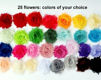 "SALE - Mini Shabby Fabric Flowers - Fabric Flowers - 1.5"" Chiffon Frayed - Set of 25 - You Choose Colors - Small Fabric Flower - MINI"