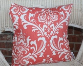 Coral Damask Pillow Cover