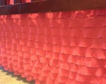 Coral Ruffle Straight Crib Skirt