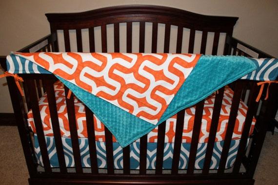 Items similar to Baby Boy Crib Bedding Orange Embrace