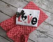 Valentine's Day LOVE Heart Polka Dot Applique Shirt and Ruffled Pants Set 18 2 3 4 5 6