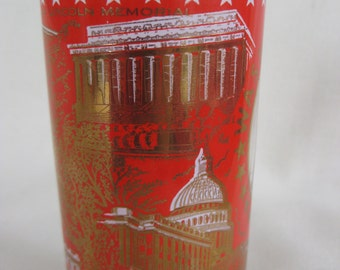 Vintage Red and Gold Washington, DC Glass