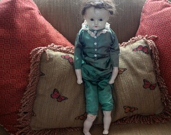 Vintage Paper Mache Style Doll with Insert Glass Eyes and Straw Stuffed Body, Cotton Stuffed Upper Arms & Legs - REDUCED