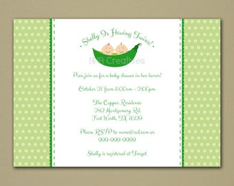 Twins Baby Shower Invitation - Two Peas in a Pod - Personalized DIY Printable Digital File