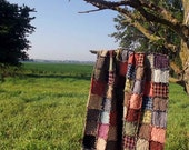 Rustic Patchwork Rag Quilt Throw, Made to Order Rustic Home Decor,  Homemade - Handmade Quilt, Primitive Quilt, Western Quilt, Throw Quilt