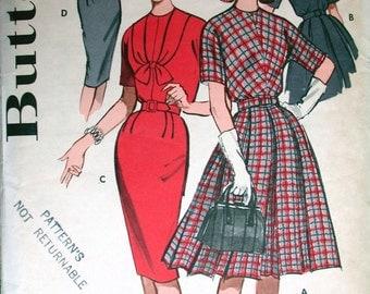 "Butterick Dress Pattern No 9461 Vintage 1960s Size 12 Bust 32"" Sheath 3/4 Kimono Sleeves Slim or Box Pleat Skirt Back Zipper Jewel Neckline"