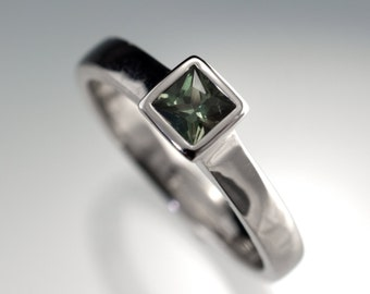 Green Sapphire Engagement Ring, Princess Cut Bezel Solitaire in Palladium, White Gold, Rose Gold or Yellow Gold