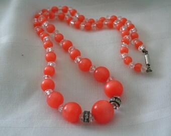 Orange and Rhinestone Beaded Necklace