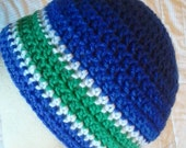 Blue, green, white fitted beanie, teen to adult size, mens hat, womens hat, unisex hat, team color hat, custom color hat