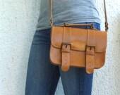 Tan leather Mini Briefcase/cross body/mesenger/school bag/satchel/Women leather bag - Customizable size and color