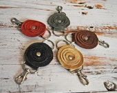 Upcycled Leather Flower Key Fob // Key Chain