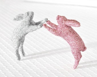 Baby Bunny Nursery Decor or Wedding Cake Topper in Light Spring Pink and Silver Glitter for Girl or Boy Baby Shower Decorations by WishDaisy