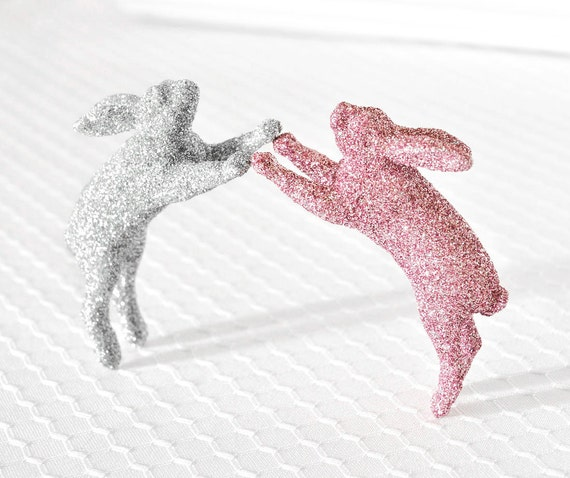 Baby Bunny Nursery Decor or Wedding Cake Topper in Light Spring Pink and Silver Glitter for Easter or Baby Shower Decorations by WishDaisy