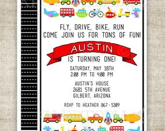 BIRTHDAY INVITATION Cars Trains Planes Automobile Transportation Digital DIY Printable Personalized - 156466347