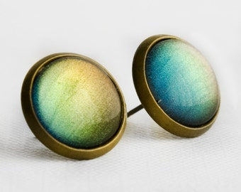 Blue, Green and Olive Color Shifting Post Earrings in Antique Bronze - Blue, Green, Olive and Yellow Colour Shifting Studs