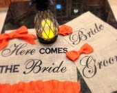 Here Comes the Bride Wedding Sign, Fall Burlap Wedding Banner, Tangerine Here Comes the  Bride Groom Signs Flower Girl Banner Ring Bearer B