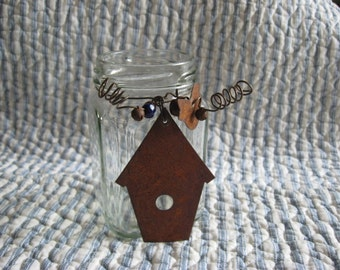 Jar Repurposed Anything Jar Square with Rusty Bird House and Bird, Bead and Bells Glass Vase Home Decor