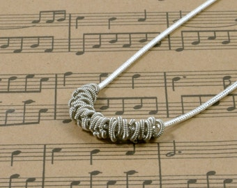 Staccato Silver Recycled Guitar String Necklace Gift for Musician or Music lover