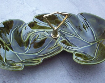 Large Forest Green Leaf Shaped Relish Tray   Made in USA R-117