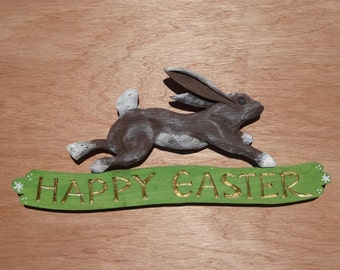 Happy Easter Leaping Rabbit sign