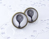 Hot Air Balloon Stud Earrings - Antique bronze glass earrings