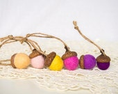 Custom Order for Lucy - Cotton White Needle Felted Acorns - set of 8 Christmas decorations country rustic home woodland
