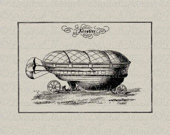French Steampunk Airship Boat Wall Decor Art Printable Digital Download for Iron on Transfer Fabric Pillows Tea Towels DT167