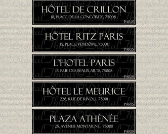 French Script Paris Hotels Typography French Decor Printable Digital Download for Iron on Transfer Fabric Pillows Tea Towels DT911