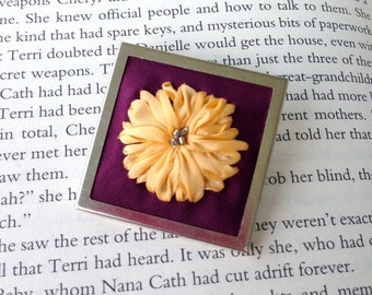 SALE Embroidered Sunflower, Purple and Yellow Brooch Brooch- Bright Silk Ribbon Embroidery by BeanTown Embroidery