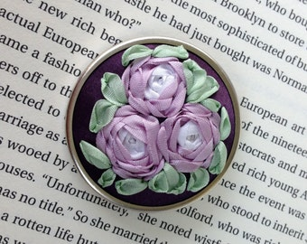 Lavender and White Hand Embroidered Cluster of Silk Ribbon Roses - Silk Ribbon Embroidery by BeanTown Embroidery