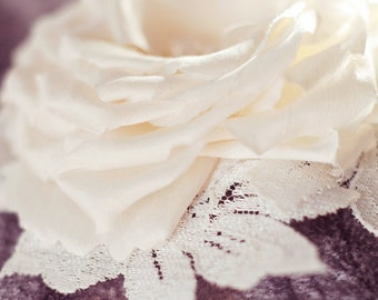 Bridal Silk Flower , Bridal hair flower, Botanical Wedding Head Piece, Bridal fascinator, silk rose -Vanessa