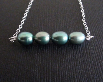 Clearance-Necklace, Freshwater AAA Teal Blue  Pearls Necklace, wedding gift, bridesmaids gift