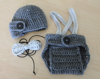 Crochet Baby Boy Newsboy Set with Suspenders and Bowtie, Photography Prop Set, Size Newborn and Infant – Grey Heather & Grey