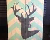 Rustic Chevron Deer wall art