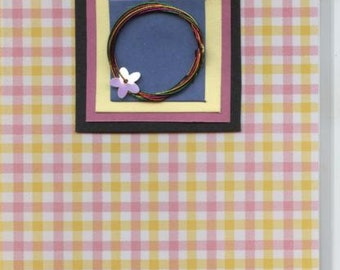 Greetings card with wire and flower motif, very unusual