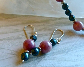 Iridescent Faceted Teal Pearls, Pink Rhodonite and Karen Hill Tribe Silver Earrings
