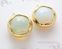 SALE 10pcs Pearl Pink Opal Round Framed Faceted Glass Stone Pendants, Gold Plated Unique Jewelry Findings  //20mm x 20mm// GSL-0040A-BG