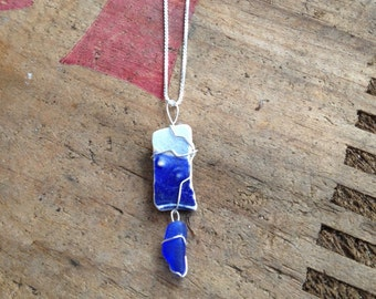 Blue Sea Glass, Pottery Sterling Necklace