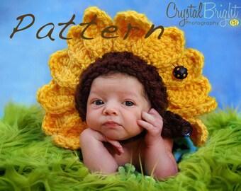 Crochet Pattern Flower Bonnet  - Newborn Great Photo prop