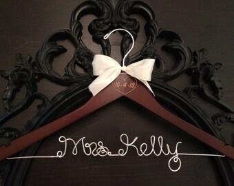 Rustic Bride Hanger / Bridal Hanger / Wedding Hanger / Engraved Hanger / Vintage Rustic Wedding / Wedding Date Hanger