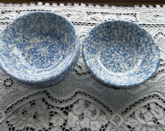 5 HENN POTTERY  Blue Spongeware Berry Bowls..New Old Stock