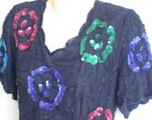 Vintage Dress 80's Sequin Beaded Evening Silk  Gatsby look L XL