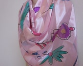 """Vintage scarf pink bright floral happy print  colors  40"""" square"""