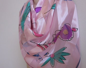 "Vintage scarf pink bright floral happy print  colors  40"" square"