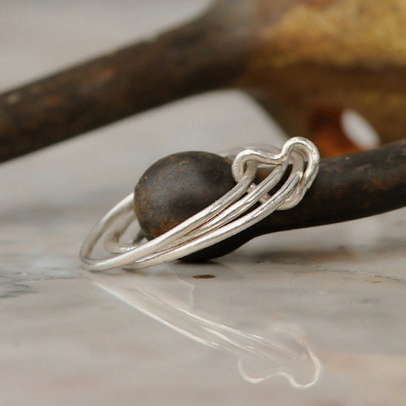 Stacking Rings - Sterling Silver Stackable Ring Set - Stacking Ring Set - Heart Ring