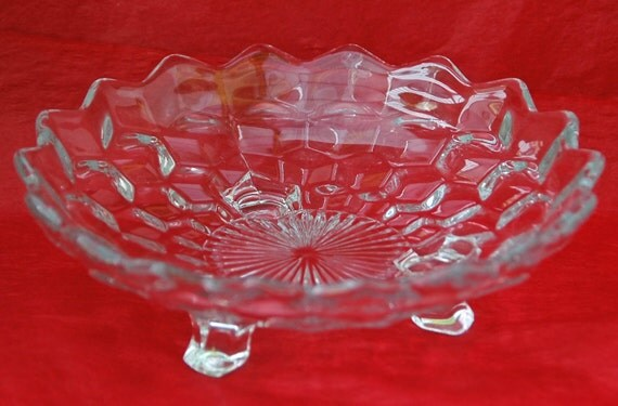 """Vintage FOSTORIA AMERICAN 3 Footed BONBON 7 1/8"""" Di. Collectible Dish Fostoria's Early American Pattern Glass"""