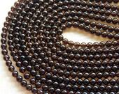 6mm A Grade Smoky Quartz Round Polished Semi-Precious Beads, Half Strand (IND1C575)