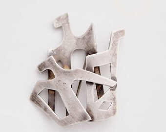 Modernist Sterling Silver Bird Brooch Norway Scandinavian Nordic Sculptural Abstract Tone Vigeland Style 1960s