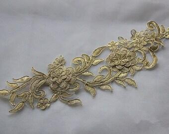 Vintage Gold Lace applique , Rococo Trim Lace Applique, Luxury Bridal Lace , for Jewelry Design