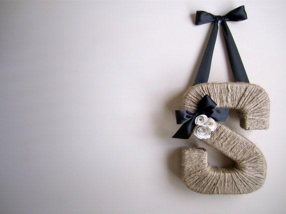 The Original Jute Monogram Wreath. Handmade Jute Letter.  Twine door hanging. Jute Letter. Letter Wreath. Door Hanging.